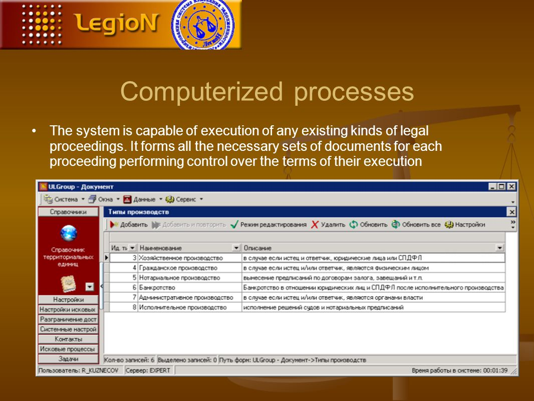 Computerized processes The system is capable of execution of any existing kinds of legal proceedings.