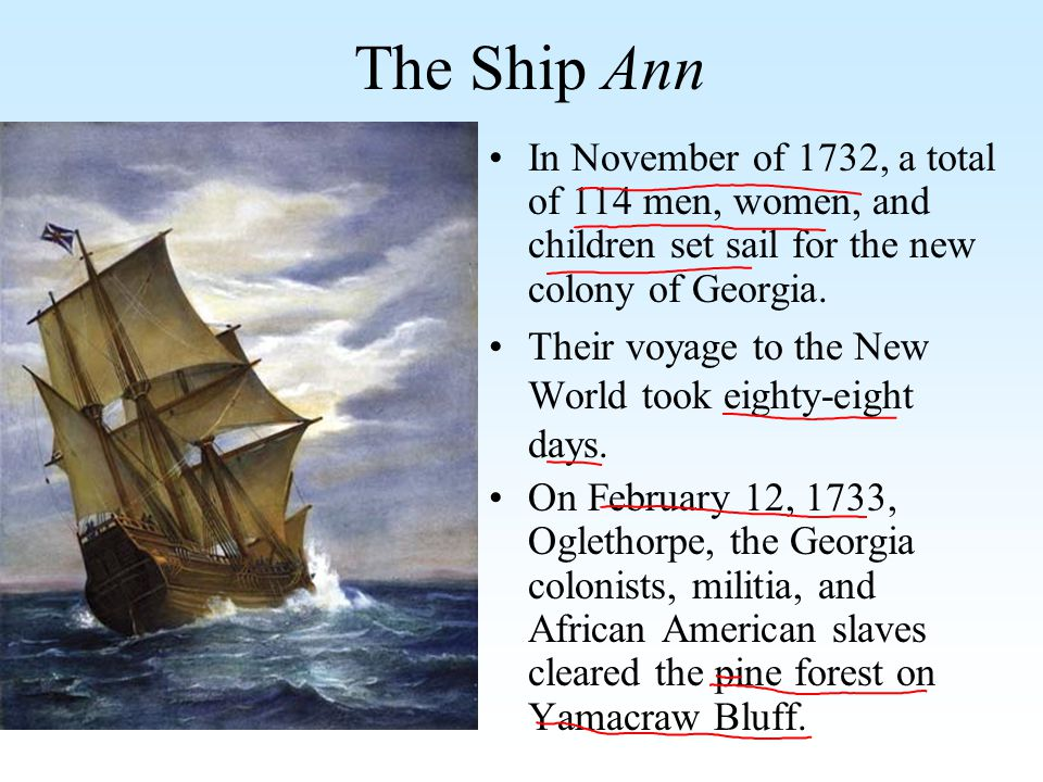 The Ship Ann In November of 1732, a total of 114 men, women, and children set sail for the new colony of Georgia. Their voyage to the New World took e