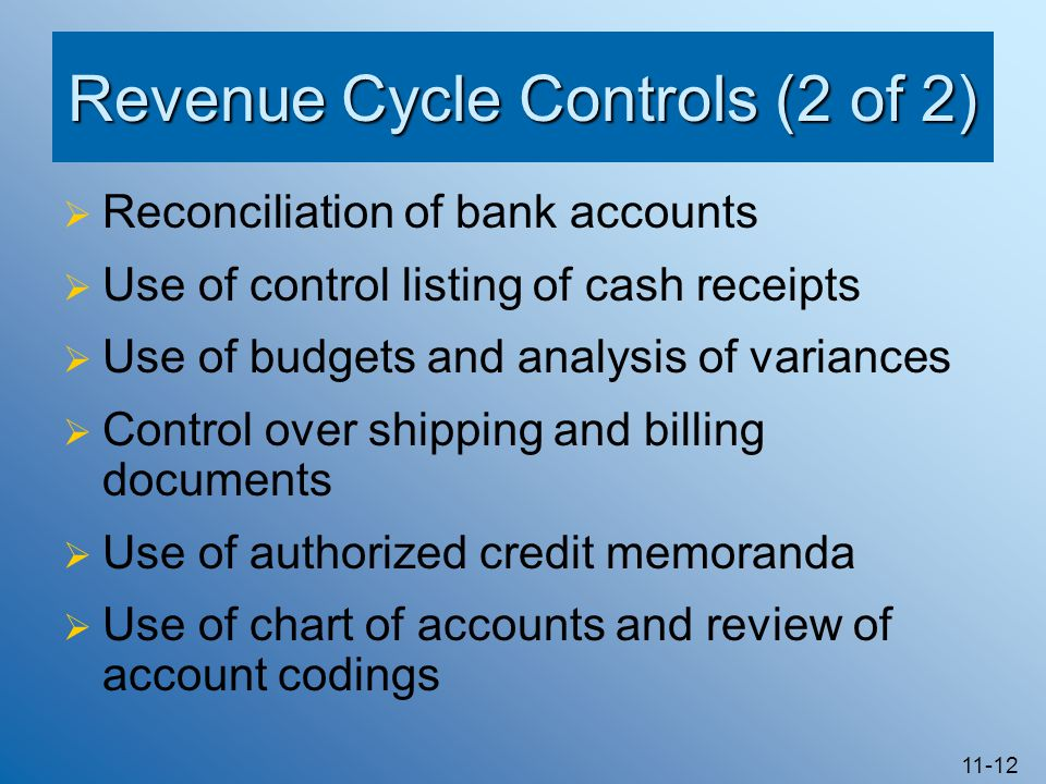 11-12 Revenue Cycle Controls (2 of 2)  Reconciliation of bank accounts  Use of control listing of cash receipts  Use of budgets and analysis of var