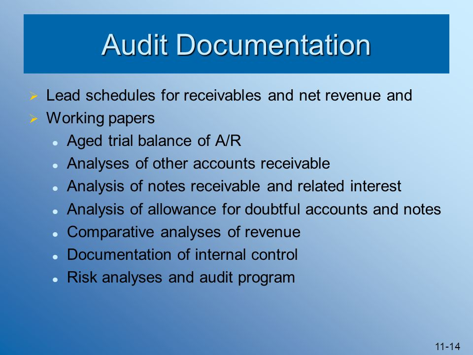 11-14 Audit Documentation  Lead schedules for receivables and net revenue and  Working papers Aged trial balance of A/R Analyses of other accounts r