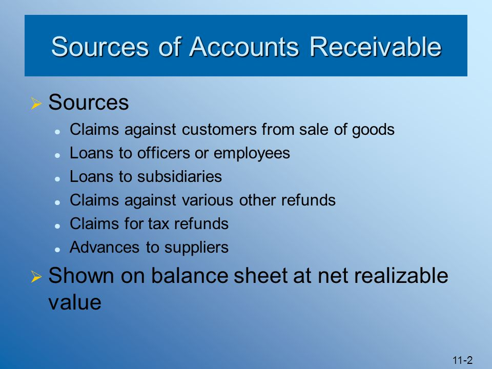 11-2 Sources of Accounts Receivable  Sources Claims against customers from sale of goods Loans to officers or employees Loans to subsidiaries Claims
