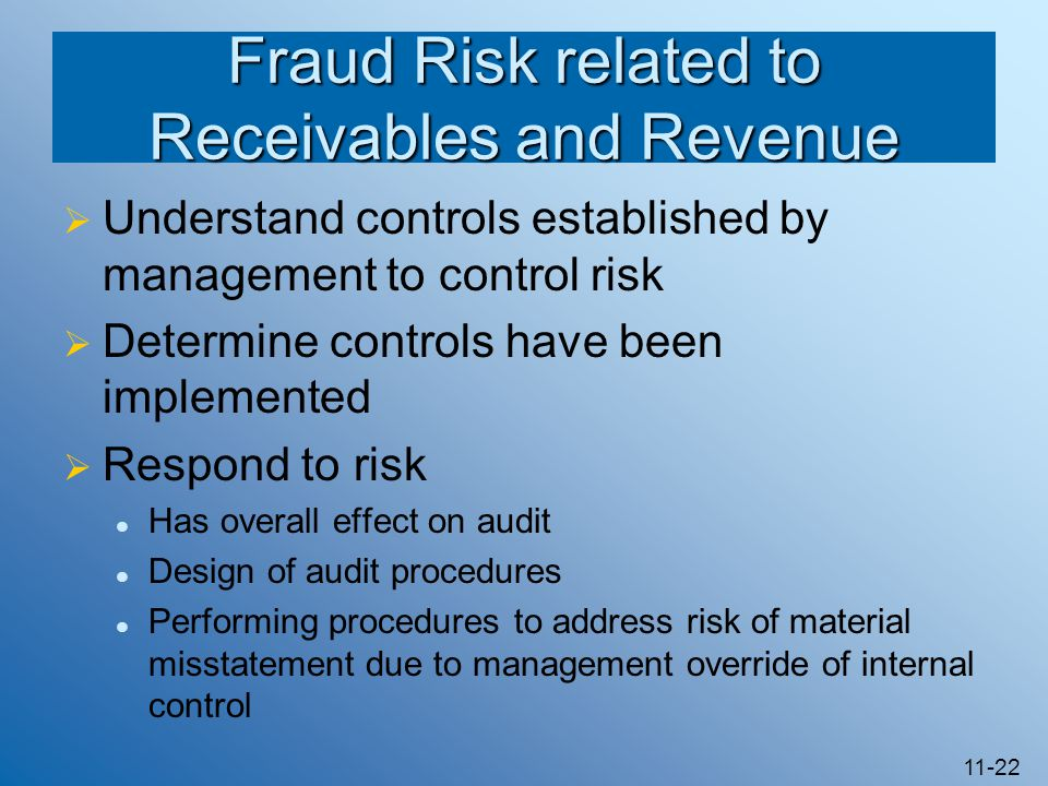 11-22 Fraud Risk related to Receivables and Revenue  Understand controls established by management to control risk  Determine controls have been implemented  Respond to risk Has overall effect on audit Design of audit procedures Performing procedures to address risk of material misstatement due to management override of internal control