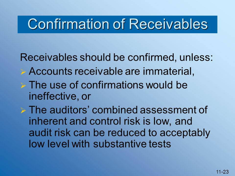 11-23 Confirmation of Receivables Receivables should be confirmed, unless:  Accounts receivable are immaterial,  The use of confirmations would be ineffective, or  The auditors' combined assessment of inherent and control risk is low, and audit risk can be reduced to acceptably low level with substantive tests