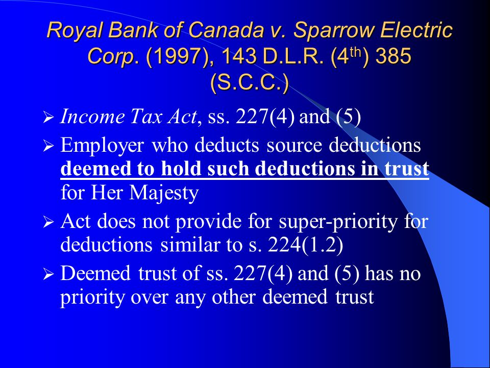 Royal Bank of Canada v. Sparrow Electric Corp. (1997), 143 D.L.R.