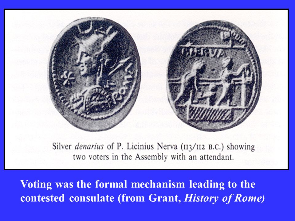 Voting was the formal mechanism leading to the contested consulate (from Grant, History of Rome )