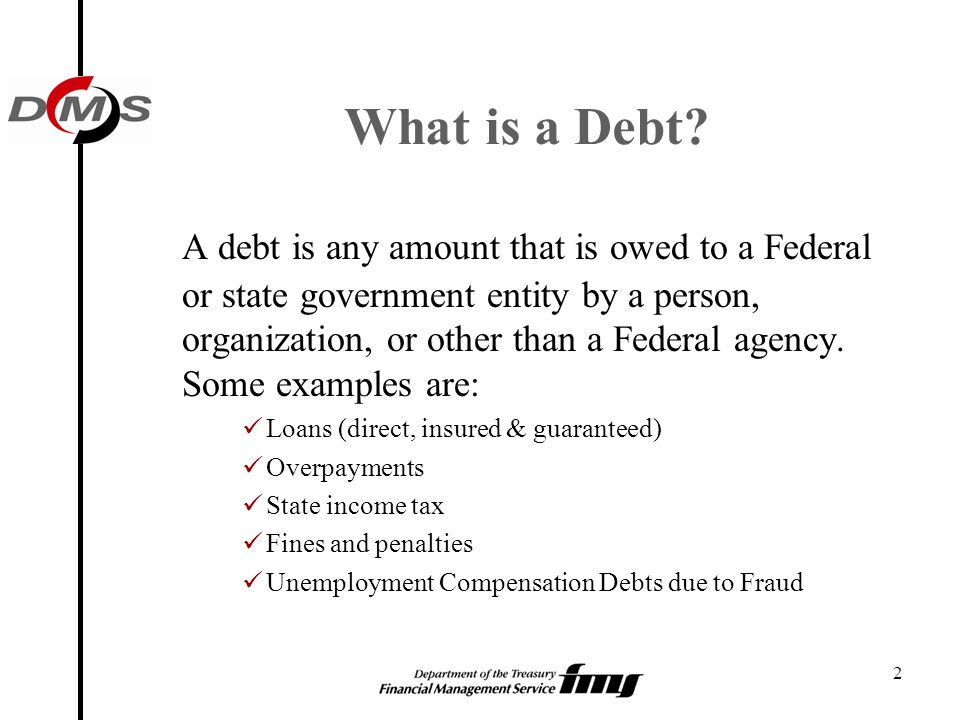 2 What is a Debt? A debt is any amount that is owed to a Federal or state government entity by a person, organization, or other than a Federal agency.