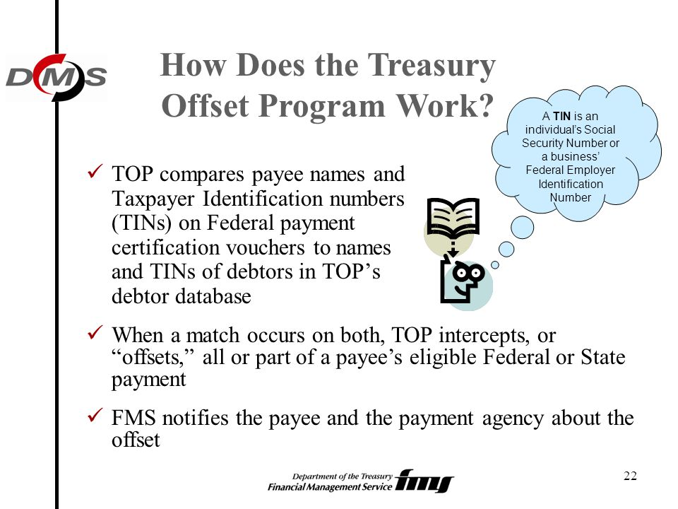 22 How Does the Treasury Offset Program Work? TOP compares payee names and Taxpayer Identification numbers (TINs) on Federal payment certification vou