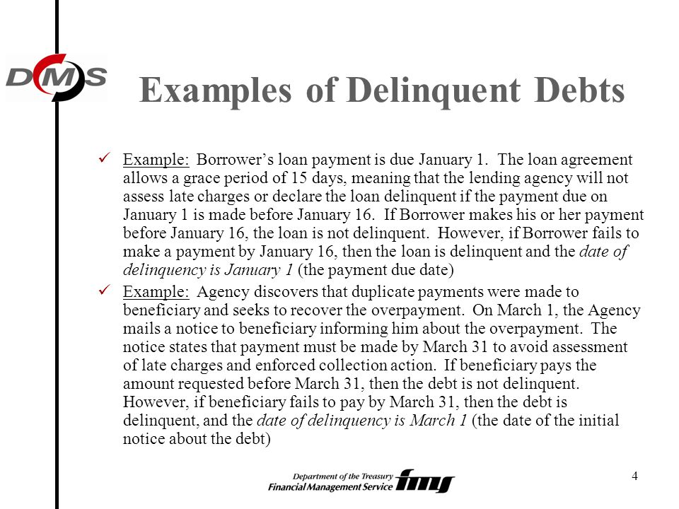 4 Examples of Delinquent Debts Example: Borrower's loan payment is due January 1. The loan agreement allows a grace period of 15 days, meaning that th