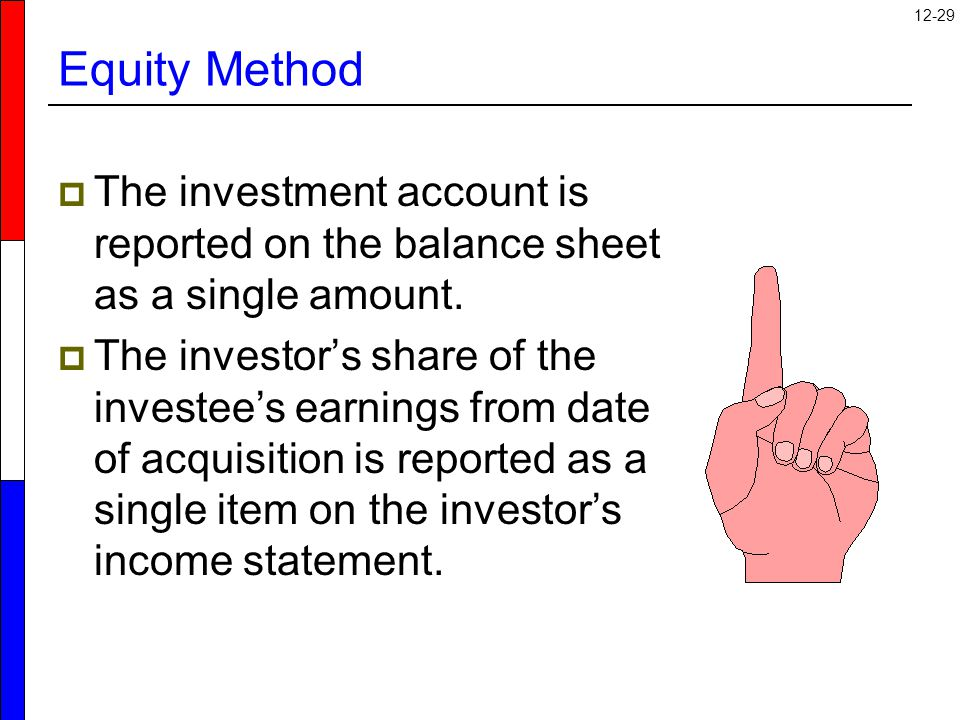 12-29 Equity Method  The investment account is reported on the balance sheet as a single amount.