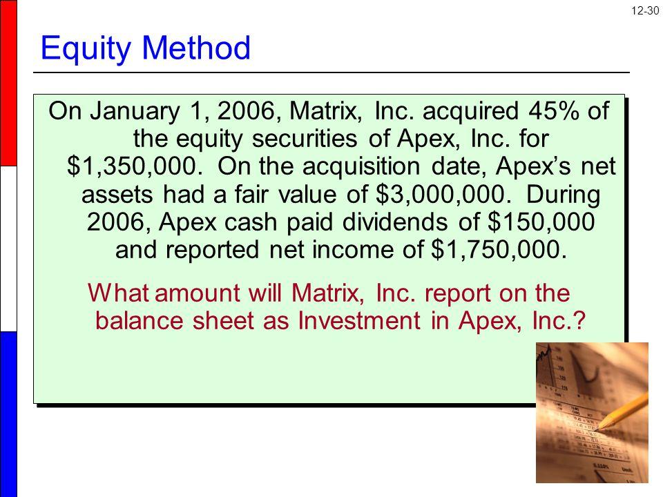 12-30 Equity Method On January 1, 2006, Matrix, Inc.
