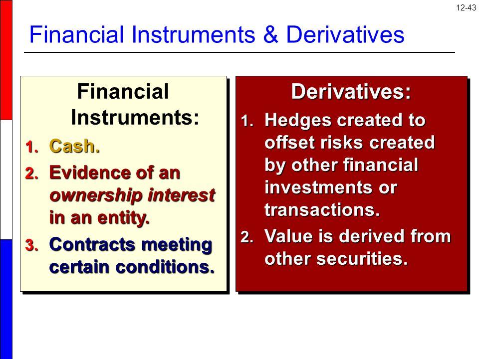 12-43 Financial Instruments & Derivatives Financial Instruments: 1.