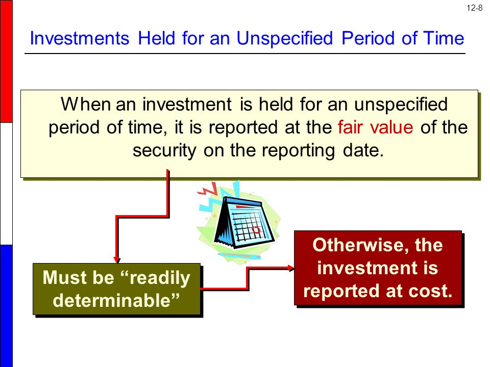 12-8 Investments Held for an Unspecified Period of Time When an investment is held for an unspecified period of time, it is reported at the fair value of the security on the reporting date.