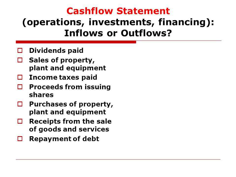 Cashflow Statement (operations, investments, financing): Inflows or Outflows.