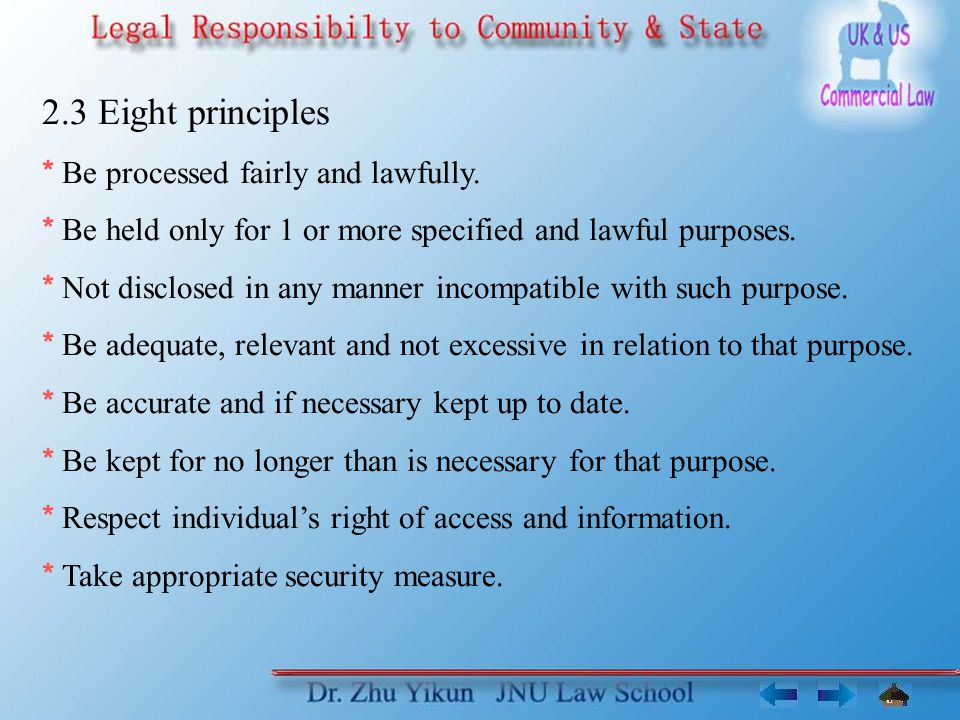 2.3 Eight principles * Be processed fairly and lawfully.