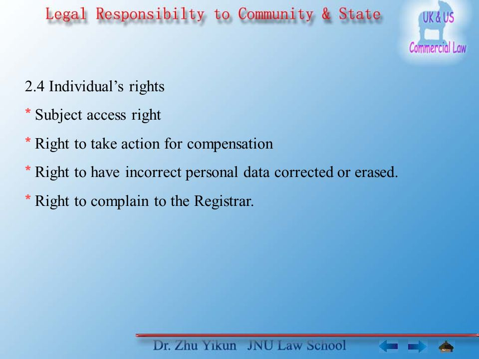 2.4 Individual's rights * Subject access right * Right to take action for compensation * Right to have incorrect personal data corrected or erased.