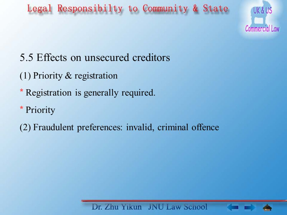 5.5 Effects on unsecured creditors (1) Priority & registration * Registration is generally required.