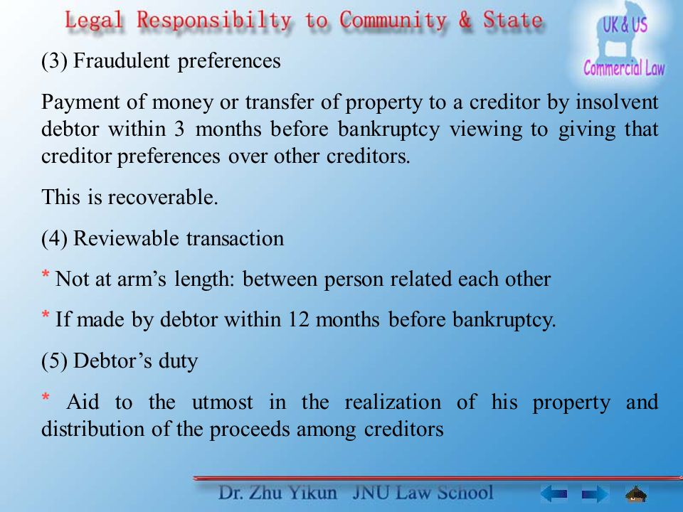 (3) Fraudulent preferences Payment of money or transfer of property to a creditor by insolvent debtor within 3 months before bankruptcy viewing to giving that creditor preferences over other creditors.