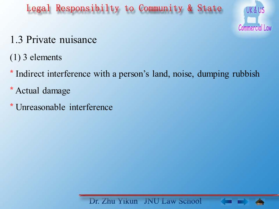 1.3 Private nuisance (1) 3 elements * Indirect interference with a person's land, noise, dumping rubbish * Actual damage * Unreasonable interference