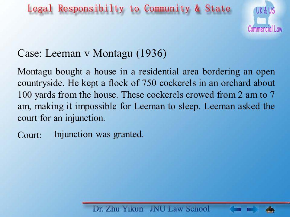 Case: Leeman v Montagu (1936) Montagu bought a house in a residential area bordering an open countryside.
