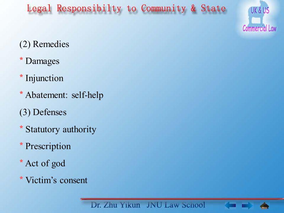 (2) Remedies * Damages * Injunction * Abatement: self-help (3) Defenses * Statutory authority * Prescription * Act of god * Victim's consent