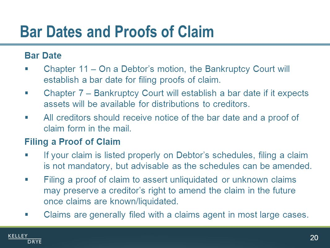 Bar Dates and Proofs of Claim Bar Date  Chapter 11 – On a Debtor's motion, the Bankruptcy Court will establish a bar date for filing proofs of claim.