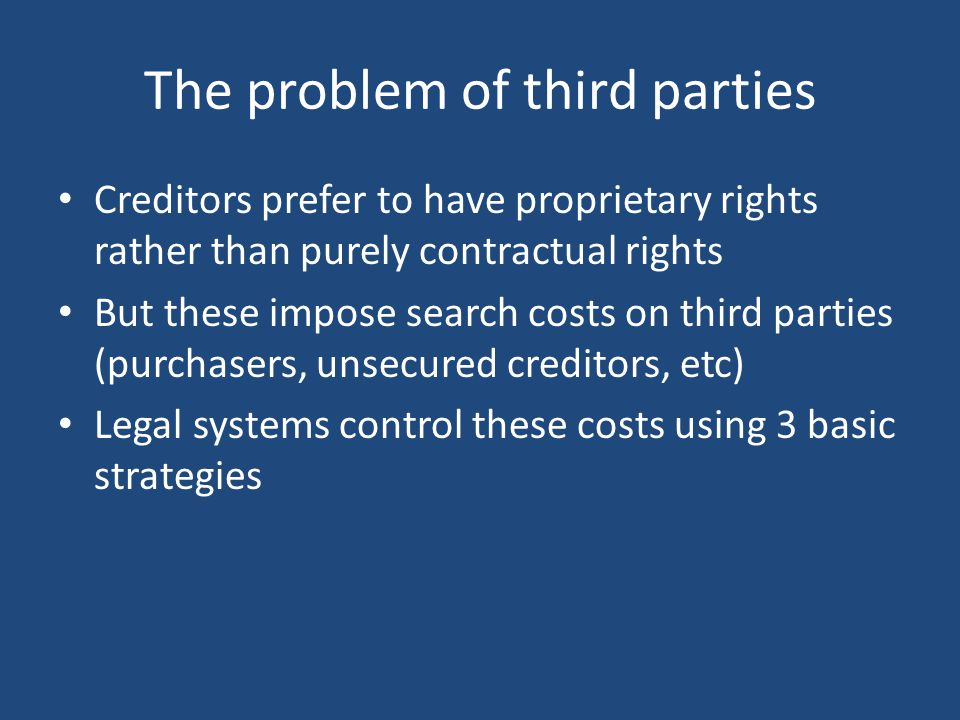 Controlling search costs 1.'Numerus clausus' (Rudden, 1987; Merrill and Smith, 2001) (civilian systems, common law) 2.Selective enforcement (Armour and Whincop, 2001) (equity) 3.Registration (Hansmann and Kraakman, 2002) (centralised systems)