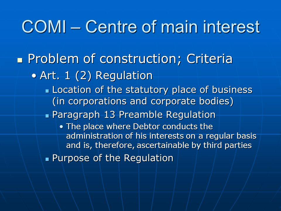 COMI – Centre of main interest Problem of construction; Criteria Problem of construction; Criteria Art.