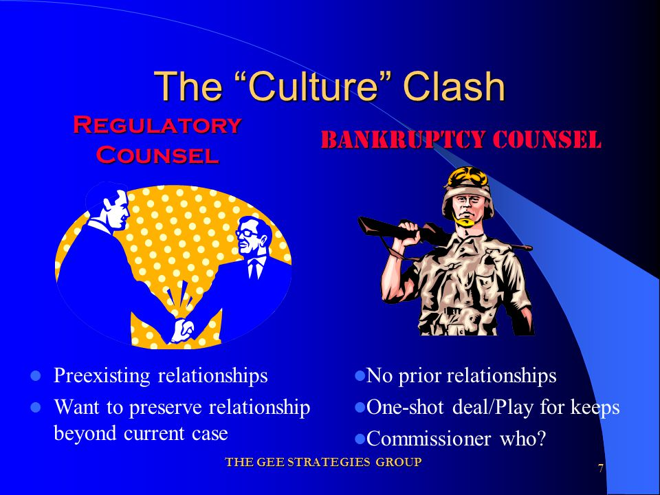 THE GEE STRATEGIES GROUP 7 The Culture Clash Preexisting relationships Want to preserve relationship beyond current case Regulatory Counsel Bankruptcy Bankruptcy Counsel No prior relationships One-shot deal/Play for keeps Commissioner who?