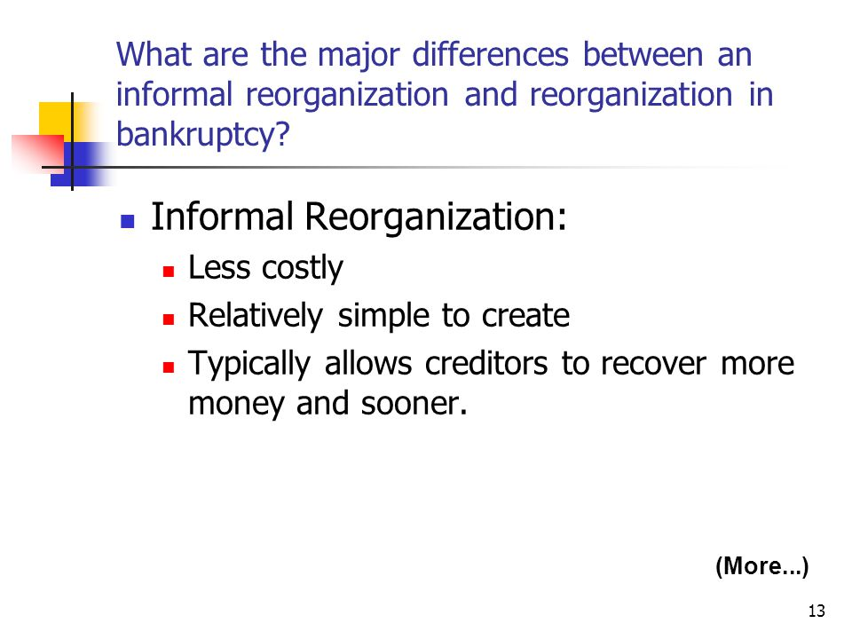 13 What are the major differences between an informal reorganization and reorganization in bankruptcy? Informal Reorganization: Less costly Relatively