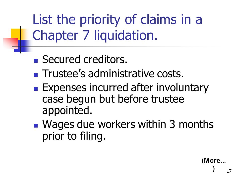 17 List the priority of claims in a Chapter 7 liquidation. Secured creditors. Trustee's administrative costs. Expenses incurred after involuntary case