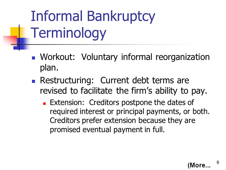 9 Informal Bankruptcy Terminology Workout: Voluntary informal reorganization plan. Restructuring: Current debt terms are revised to facilitate the fir