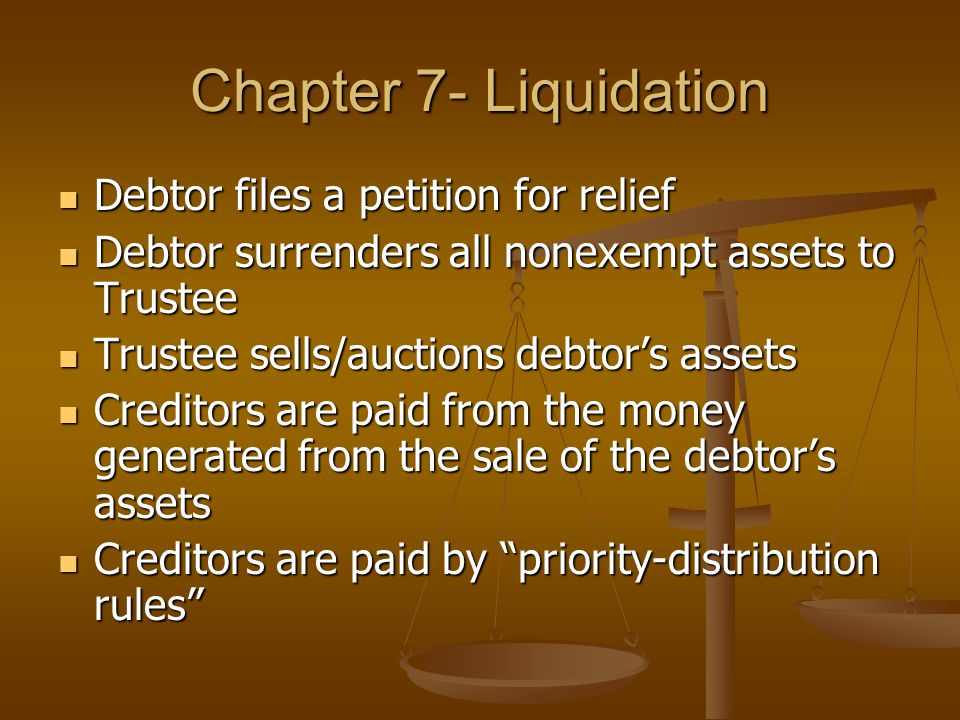 Chapter 7- Liquidation Debtor files a petition for relief Debtor files a petition for relief Debtor surrenders all nonexempt assets to Trustee Debtor