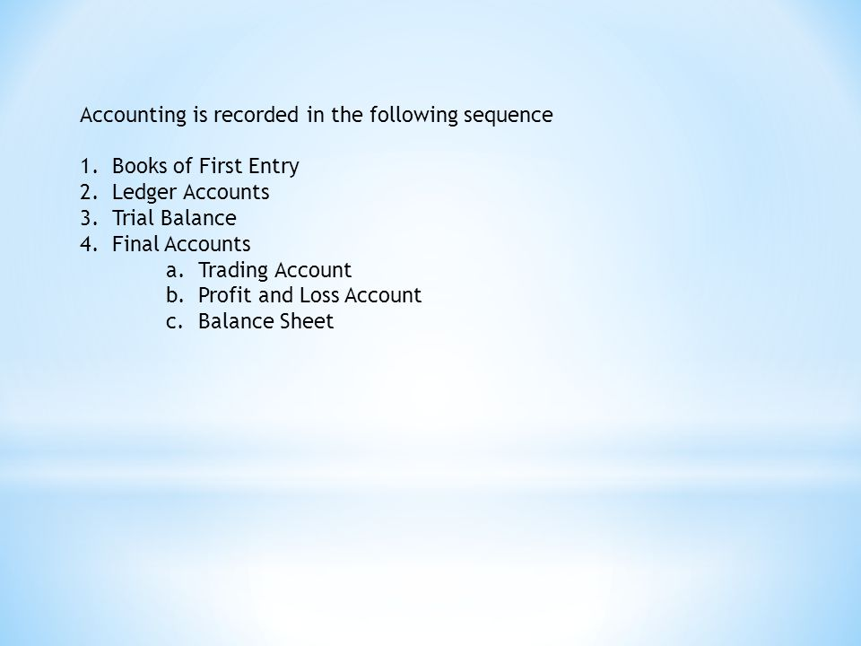 Accounting is recorded in the following sequence 1.Books of First Entry 2.Ledger Accounts 3.Trial Balance 4.Final Accounts a.Trading Account b.Profit and Loss Account c.Balance Sheet
