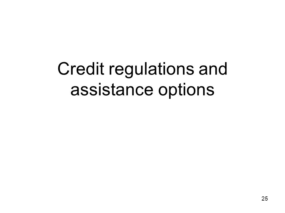 Credit regulations and assistance options 25