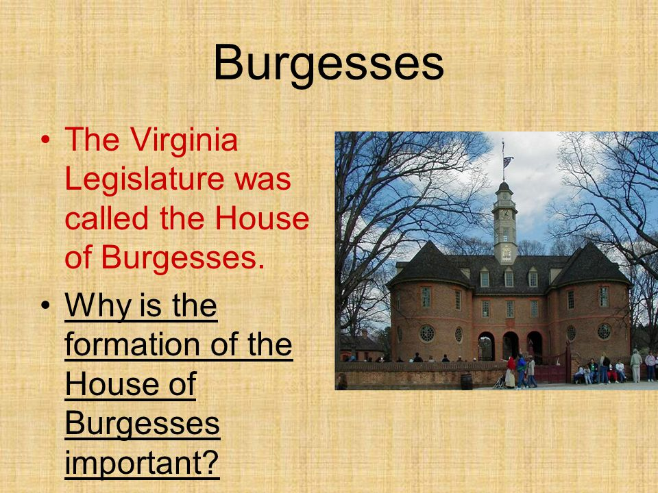 Burgesses The Virginia Legislature was called the House of Burgesses. Why is the formation of the House of Burgesses important?