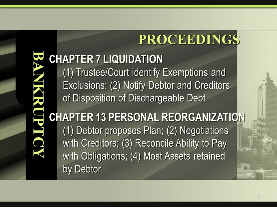 9 BANKRUPTCY PROCEEDINGS PROCEEDINGS CHAPTER 11 BUSINESS REORGANIZATION Creditors (Committee) Accept/Reject Company Plan subject to Trustee/Court Oversight Final Plans usually Reconfigure Capital Structure: Creditors Swap Debt for Equity Cram-Down Rule Super-Majority (2/3) Agreement binds Minority/Dissenting Claimants; Effect can be Loss of Claim Priority