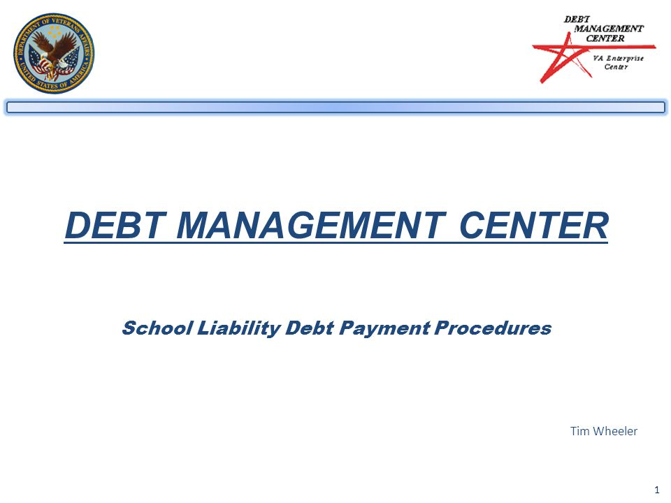 1 DEBT MANAGEMENT CENTER School Liability Debt Payment Procedures Tim Wheeler