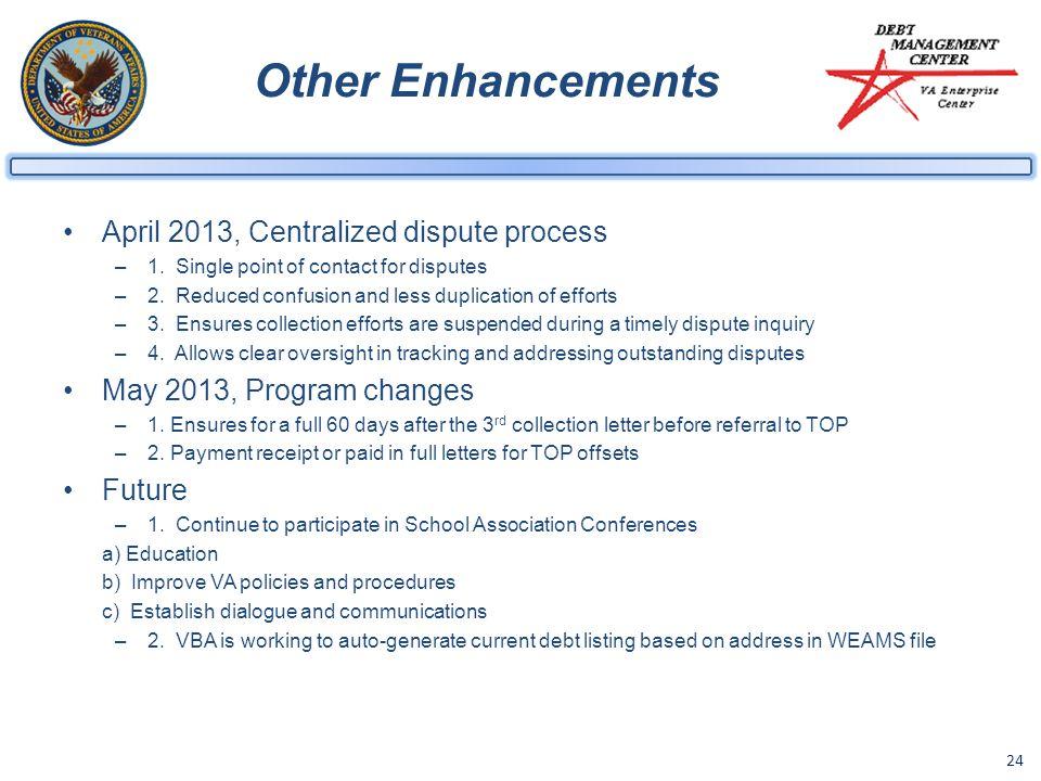 24 Other Enhancements April 2013, Centralized dispute process –1.