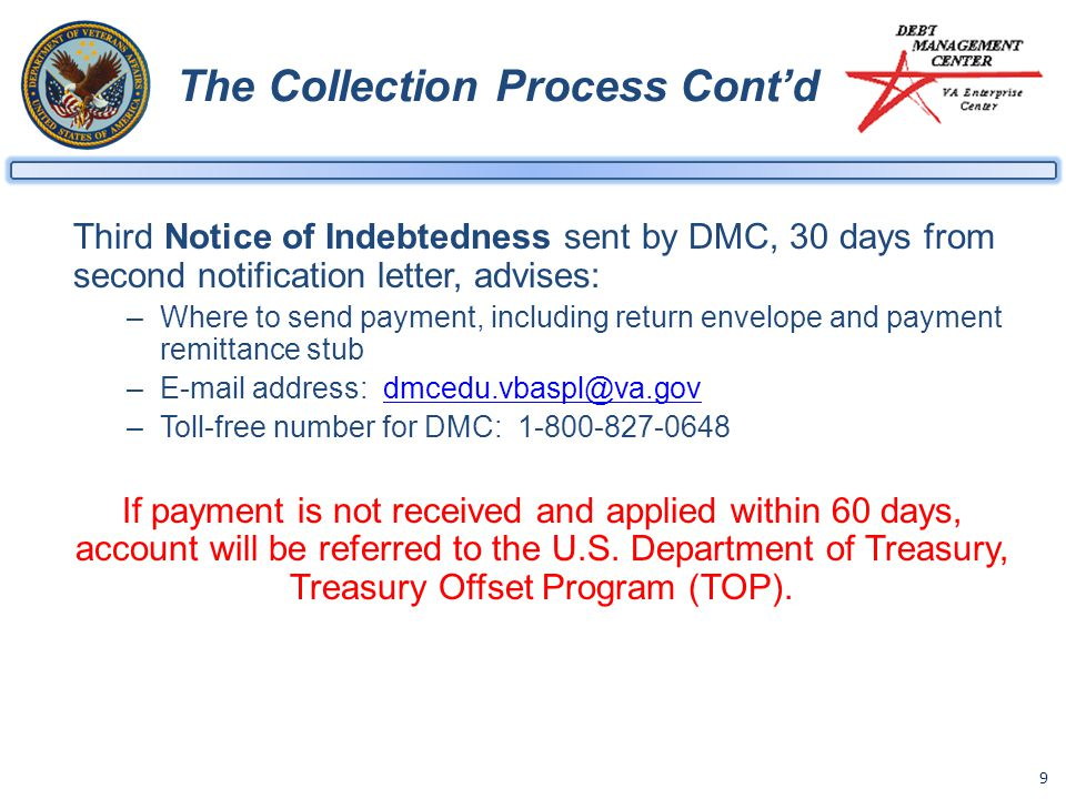 9 The Collection Process Cont'd Third Notice of Indebtedness sent by DMC, 30 days from second notification letter, advises: –Where to send payment, including return envelope and payment remittance stub –E-mail address: dmcedu.vbaspl@va.govdmcedu.vbaspl@va.gov –Toll-free number for DMC: 1-800-827-0648 If payment is not received and applied within 60 days, account will be referred to the U.S.