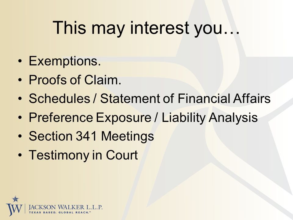 This may interest you… Exemptions. Proofs of Claim.