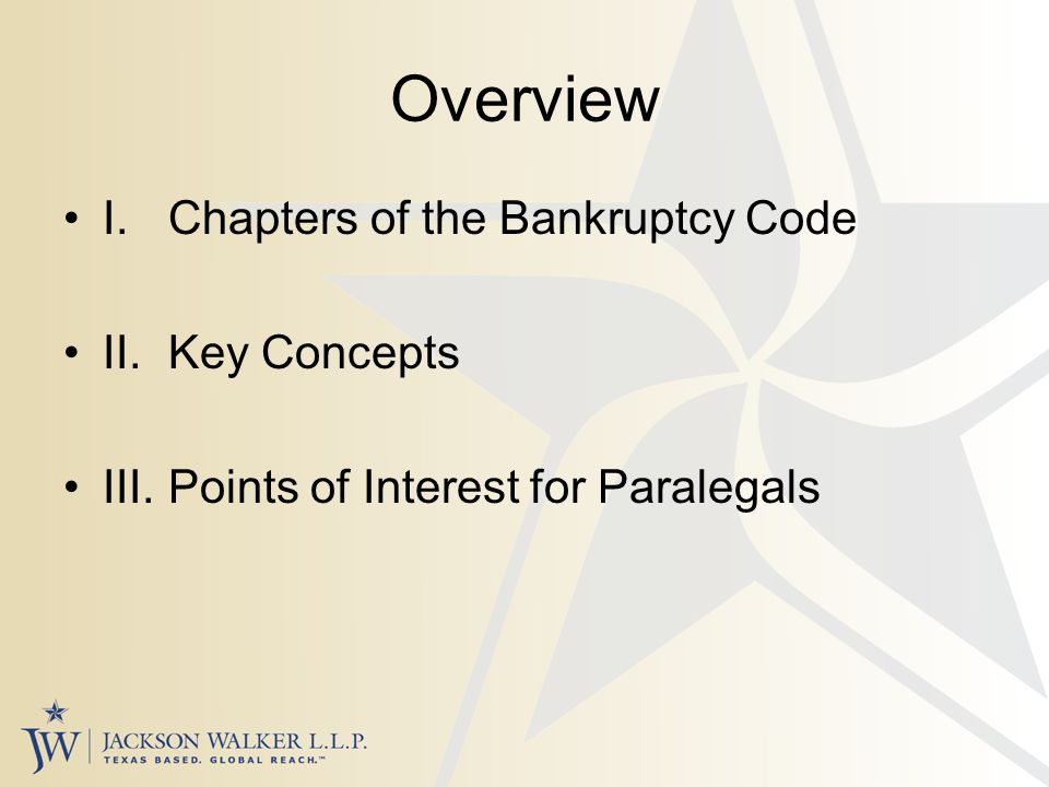 Key Concepts Property of the Estate Cash Collateral Automatic Stay Executory Contracts Avoidance Actions Discharge / Dischargeability Turnover Plan / Disclosure Statement