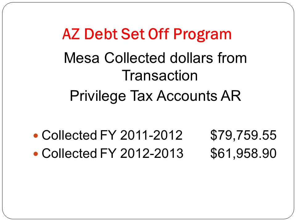 AZ Debt Set Off Program Mesa Collected dollars from Transaction Privilege Tax Accounts AR Collected FY 2011-2012 $79,759.55 Collected FY 2012-2013$61,958.90