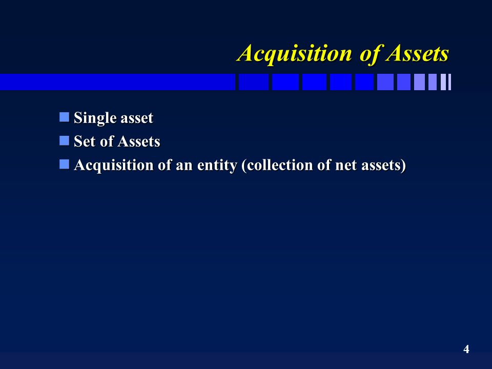 5 Acquisition of an entity n A company is allowed to acquire the net assets of another company and is also allowed to indirectly acquire the net assets by purchasing the shares of another company nTheir are 4 principal forms of acquisition of net assets of a company