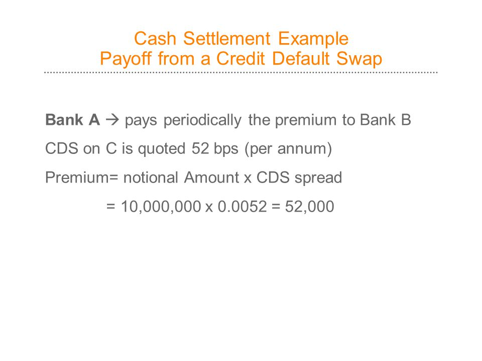 Cash Settlement Example Payoff from a Credit Default Swap Bank A  pays periodically the premium to Bank B CDS on C is quoted 52 bps (per annum) Premium= notional Amount x CDS spread = 10,000,000 x 0.0052 = 52,000