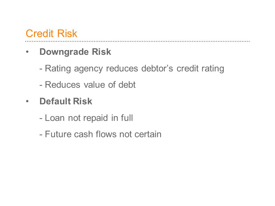 Credit Risk Downgrade Risk - Rating agency reduces debtor's credit rating - Reduces value of debt Default Risk - Loan not repaid in full - Future cash flows not certain