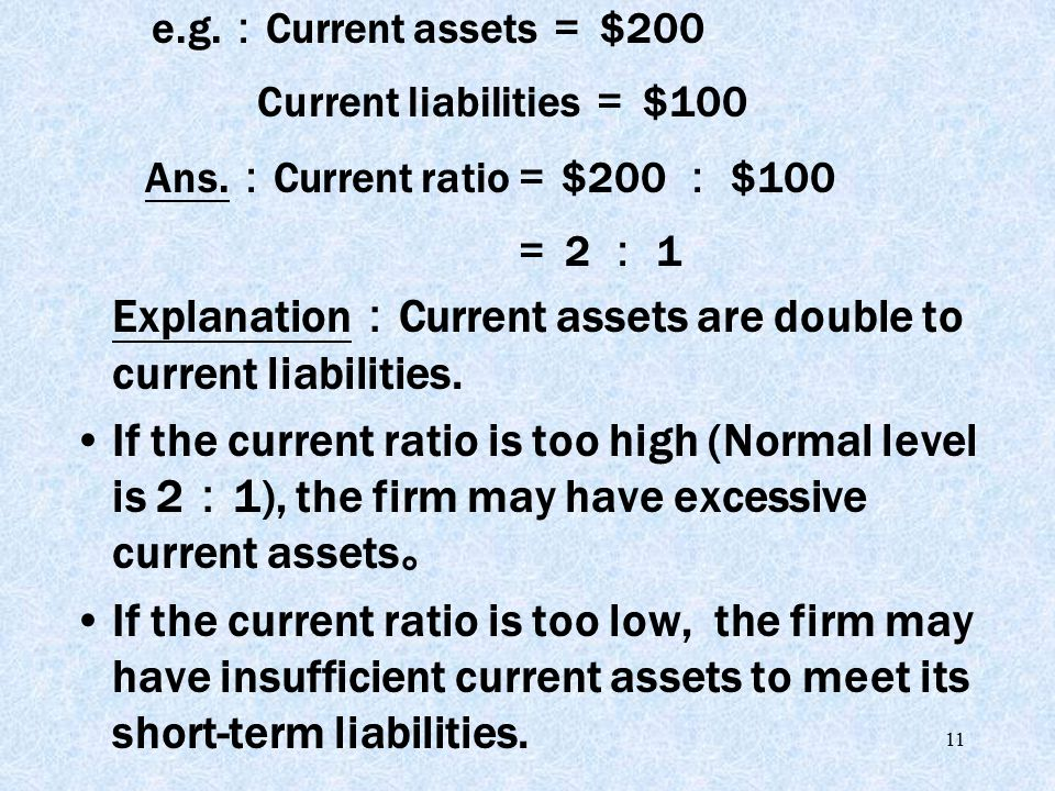 11 Explanation : Current assets are double to current liabilities.