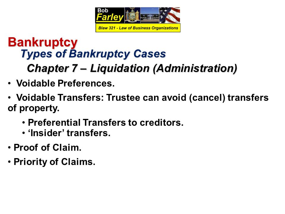 Bankruptcy Types of Bankruptcy Cases Types of Bankruptcy Cases Chapter 7 – Liquidation (Administration) Chapter 7 – Liquidation (Administration) Voida