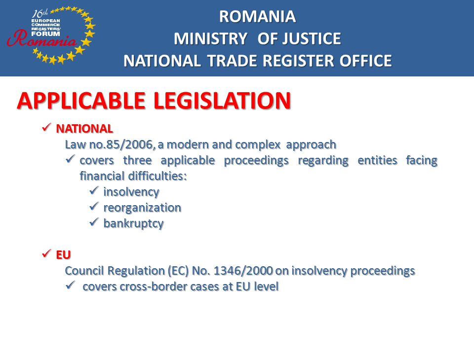 Q&A ROMANIA MINISTRY OF JUSTICE NATIONAL TRADE REGISTER OFFICE