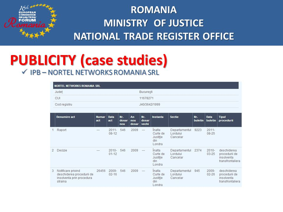 ROMANIA MINISTRY OF JUSTICE NATIONAL TRADE REGISTER OFFICE PUBLICITY (case studies) Trade Register – NORTEL NETWORKS ROMANIA SRL Trade Register – NORTEL NETWORKS ROMANIA SRL