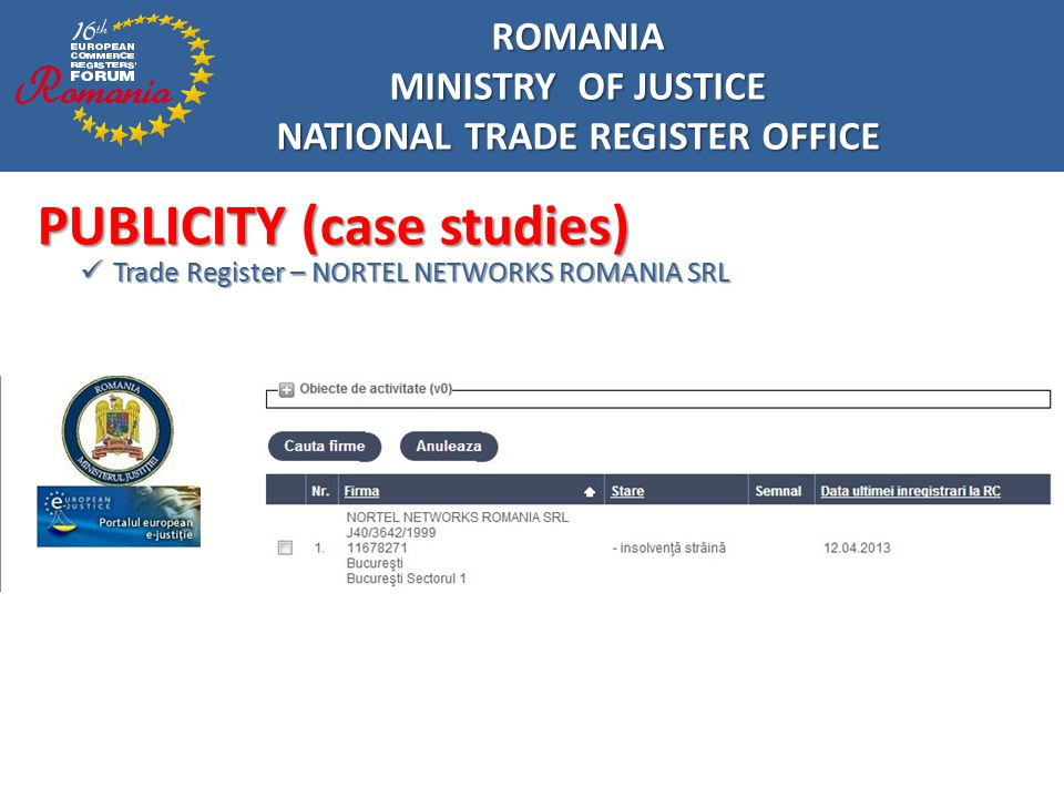 ROMANIA MINISTRY OF JUSTICE NATIONAL TRADE REGISTER OFFICE INTERNATIONAL TRENDS Communication no.